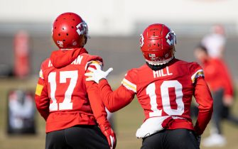 Kansas City Chiefs Wide Receiver Tyreek Hill (10) and Wide Receiver Mecole Hardman (17) fielding punts  during NFL football practice , seen in an image released to the media by the NFL, Wednesday February 3, 2021 in Kansas City, Mo. The Chiefs will face the Tampa Bay Buccaneers in Super Bowl 55.  (Steve Sanders/Kansas City Chiefs via AP/Sipa USA)**Mandatory Credit-Editorial Use Only**