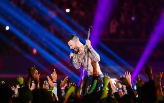 Adam Levine and Maroon 5 perform during the Super Bowl LIII halftime show at Mercedes-Benz Stadium in Atlanta, Georgia on Feb. 3, 2019. (Photo by Anthony Behar/Sipa USA)