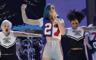 Indianapolis (USA), Super Bowl XLVI, trionfano i Giants.  Katy Perry performs at the Direct TV Super Saturday Night concert in Indianapolis on February 4, 2012.  UPI Photo