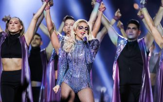 Lady Gaga performs during the Pepsi Zero Sugar Super Bowl LI Halftime Show held at NRG Stadium on February 5, 2017 in Houston, TX. (Photo by Anthony Behar) *** Please Use Credit from Credit Field ***