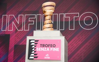 The trophy is seen on the signature departure podium of the 2nd stage of the 2021 Giro d'Italia cycling race over 179km from Stupinigi to Novara, Italy, 09 May 2021. The 104th edition of the Giro d'Italia will take place from 08 to 30 May 2021. ANSA/LUCA ZENNARO