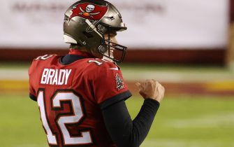 Jan 9, 2021; Landover, Maryland, USA; Tampa Bay Buccaneers quarterback Tom Brady (12) celebrates in the final two minutes against the Washington Football Team in the fourth quarter at FedExField. Mandatory Credit: Geoff Burke-USA TODAY Sports/Sipa USA