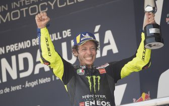JEREZ DE LA FRONTERA, SPAIN - JULY 26: Valentino Rossi of Italy and Monster Energy Yamaha MotoGP Team celebrates the third place on the podium during the MotoGP race during the MotoGP of Andalucia - Race at Circuito de Jerez on July 26, 2020 in Jerez de la Frontera, Spain. (Photo by Mirco Lazzari gp/Getty Images)
