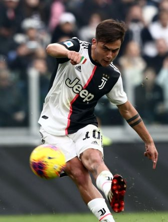 Juventus' Argentine forward Paulo Dybala shoots on goal during the Italian Serie A football match Juventus vs Brescia on February 16, 2020 at the Juventus stadium in Turin. (Photo by Isabella BONOTTO / AFP) (Photo by ISABELLA BONOTTO/AFP via Getty Images)