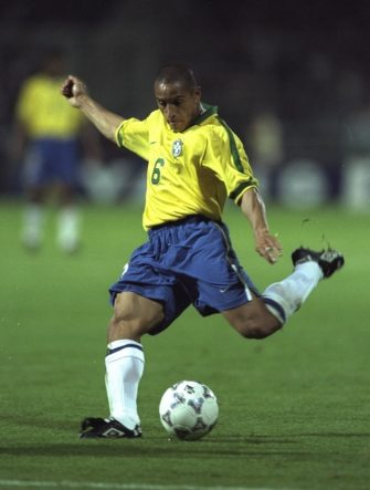 3 Jun 1997:  Roberto Carlos of Brazil in action during the Tournoi de France match against France in Lyon, France. The match ended in a 1-1 draw.  \ Mandatory Credit: Shaun  Botterill/Allsport