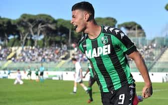 Gianluca Scamacca dopo il gol nella finale contro l'Empoli nel torneo di VIareggio 2017