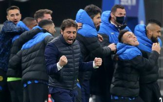 Inter Milan s coach Antonio Conte reacts during the Italian serie A soccer match between FC Inter  and Atalanta BC at Giuseppe Meazza stadium in Milan, 8 March  2021.ANSA / MATTEO BAZZI
