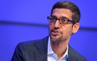 Alphabet CEO Sundar Pichai speaks during a session at the World Economic Forum (WEF) annual meeting in Davos, on January 22, 2020. (Photo by Fabrice COFFRINI / AFP) (Photo by FABRICE COFFRINI/AFP via Getty Images)