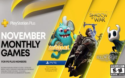 PS Plus, i giochi gratis di novembre per PS4 e PS5