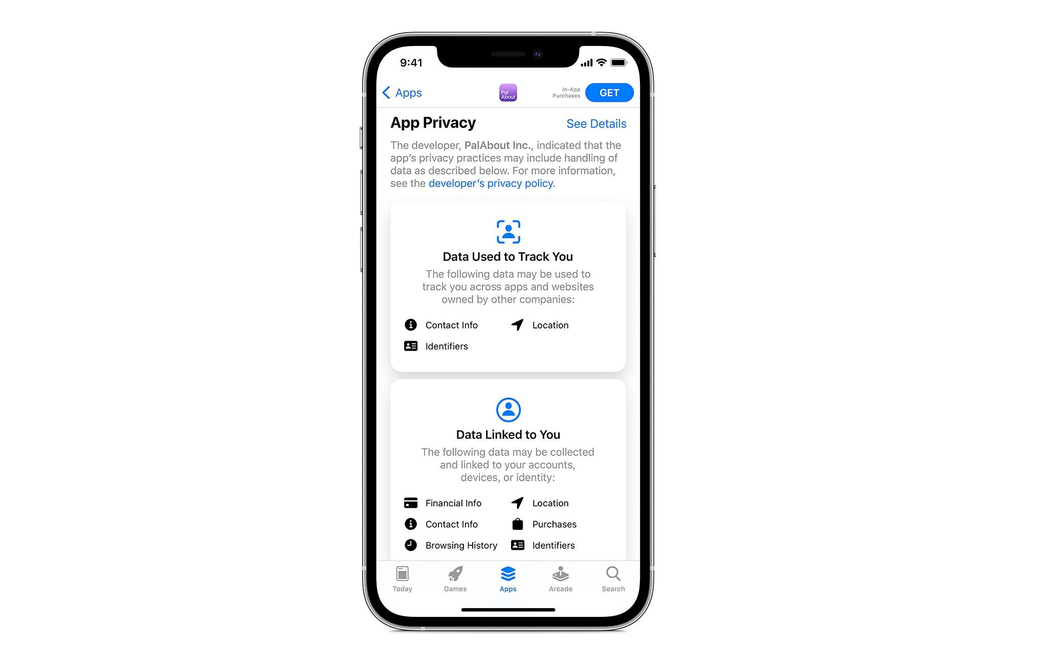 La nuova sezione dell'App Store dedicata alla privacy di ogni singola app