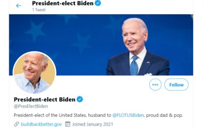Usa, Biden attiva l'account Twitter. Senza i follower di Trump