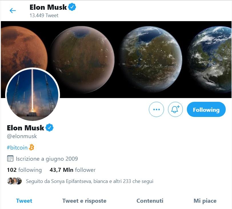 Il valore dei bitcoin dopo l'endorsement di Musk