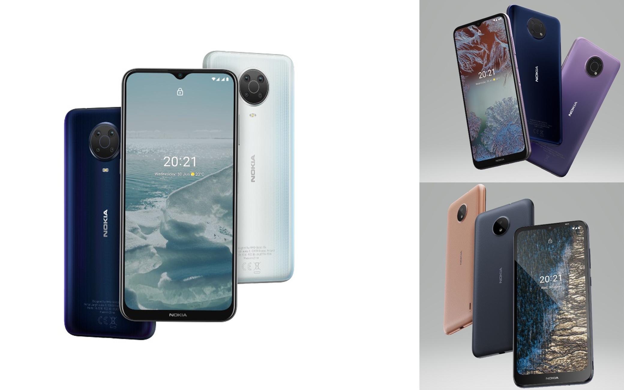 A sinistra il Nokia G20, in alto a destra il G10, in basso a destra il C20