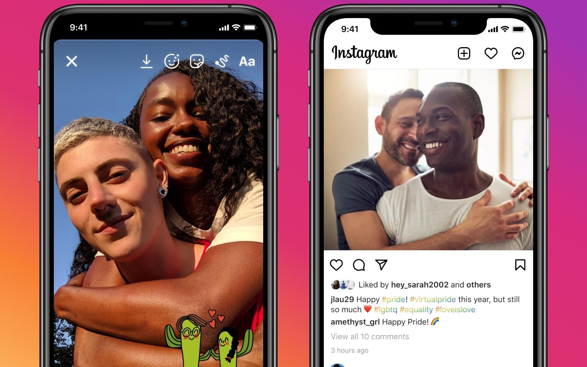 I nuovi adesivi su Instagram ispirati al Pride