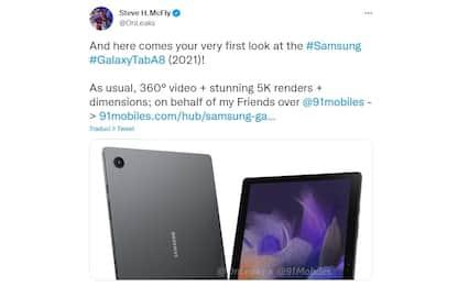Samsung Galaxy Tab A8 2021, i dettagli svelati dai leakers