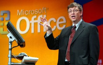 (FILES) A file photo dated 21 October 2003 of Bill Gates, Chairman and Chief Software Architect at Microsoft in New York City.  ANSA/  JEFF CHRISTENSEN DEF
