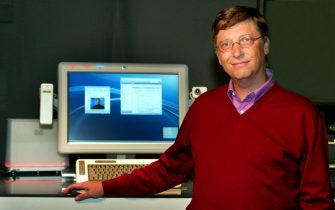 Microsoft Chairman and Chief Software Architect Bill Gates, shows a new PC prototype, 05 May 2003, in New Orleans that he will unveil during his keynote address at the annual Windows Hardware Engineering Conference 06 May. The prototype was developed with Hewlitt-Packard and is code named 'Athens'. The computer merges all forms of communication including next generation voice, video and text messaging. ANSA / HO