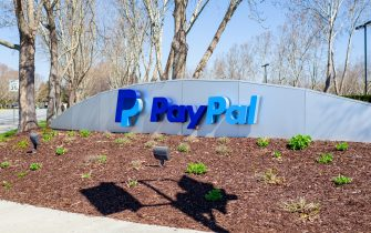 Sign at headquarters of payment processing company Paypal in the Silicon Valley, San Jose, California, March 15, 2019. (Photo by Smith Collection/Gado/Getty Images)