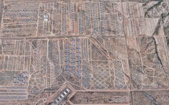 """Il """"cimitero degli aerei"""" nella Davis Monthan Air Force Base di Tucson, in Arizona, visto da Google Earth"""