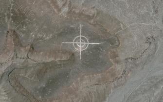 Un bersaglio disegnato nel deserto del Nevada, visto dal satellite