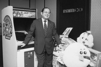 (Original Caption) Tokyo: The spirit of Christmas future is personified by Masaya Nakamura, founder of Namco Ltd. and father of Pac-Man (Puckman in Japan). He is widely credited with masterminding the video game craze. A home video version of Pac-Man is expected to be among this year's hottest Christmas items.