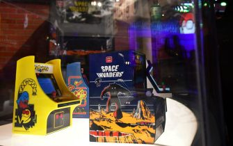 A trio of classic video games, Space Invaders, Pac-Man and Ms Pac-Man, in Micro Player design from My Arcade are displayed at the 2019 Electronic Entertainment Expo, also known as E3, in Los Angeles on June 11, 2019. - Gaming fans and developers gather, connecting thousands of the brightest, best and most innovative in the interactive entertainment industry and a chance for many to preview new games. (Photo by Frederic J. BROWN / AFP)        (Photo credit should read FREDERIC J. BROWN/AFP via Getty Images)