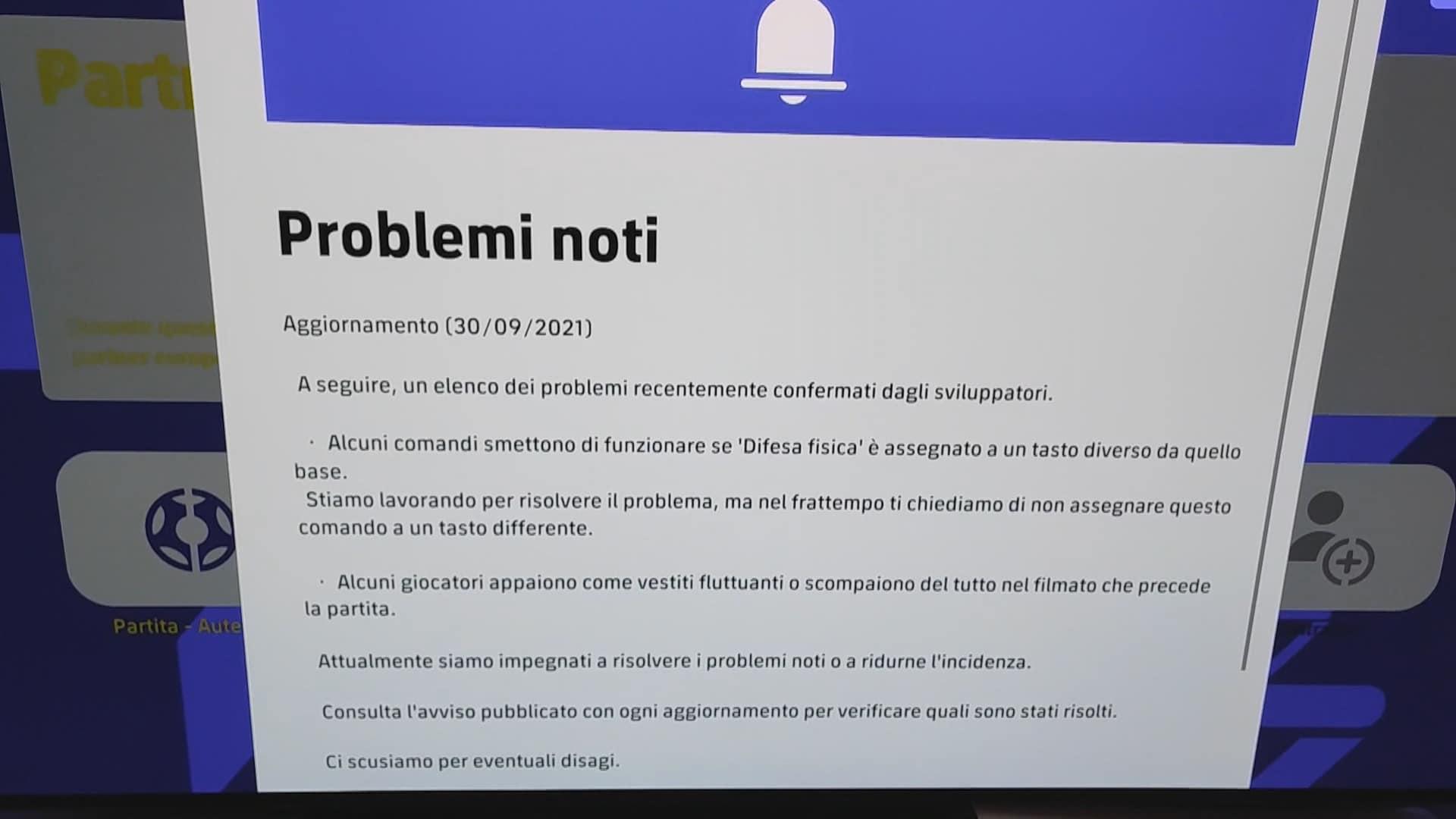 eFootball, avviso di possibili problemi