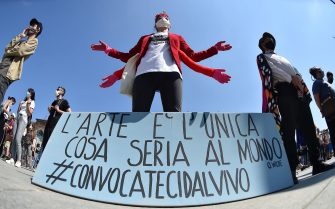 Flash Mob and demonstration by Arts and Culture workers during the Covid-19 Coronavirus' emergency Phase 2 in Turin?, Italy, 30 May 2020. ANSA/ALESSANDRO DI MARCO