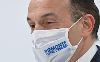 Alberto Cirio presidente della regione Piemonte durante la conferenza stampa su situazione Covid e vaccinazioni presso la sala trasparenza della regione Piemonte, Torino, 18 marzo 2021 ANSA/ALESSANDRO DI MARCO