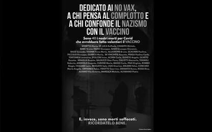 """Sindaco dell'Alessandrino stampa nomi morti Covid: """"Dedicato a No Vax"""""""