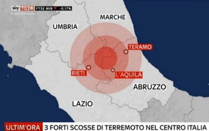 Paura Centro Italia: tre forti scosse di terremoto