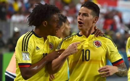 Colombia qualificata con James, Perù ai playoff