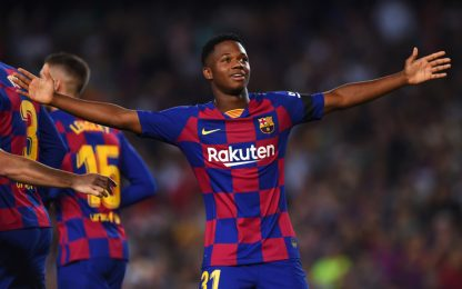 Barça, manita al Valencia: Ansu Fati ancora in gol