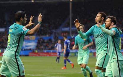 Barça esagerato, 6 gol all'Alaves. Paura per Vidal