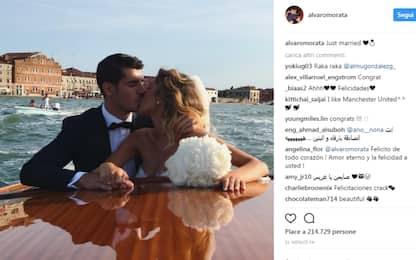 Morata, matrimonio da favola a Venezia con Alice