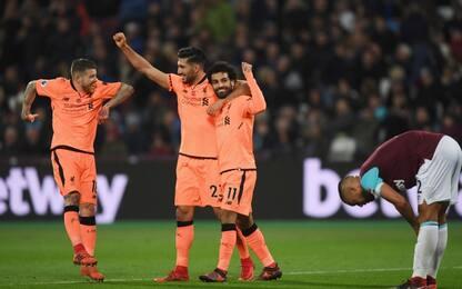 West Ham-Liverpool 1-4, doppietta di Salah