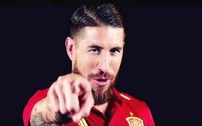 Sergio Ramos canta l'inno della Spagna