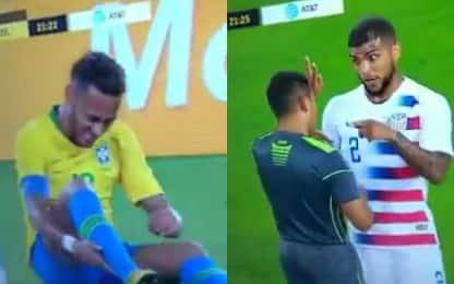 Neymar rotola, la reazione dell'avversario spopola