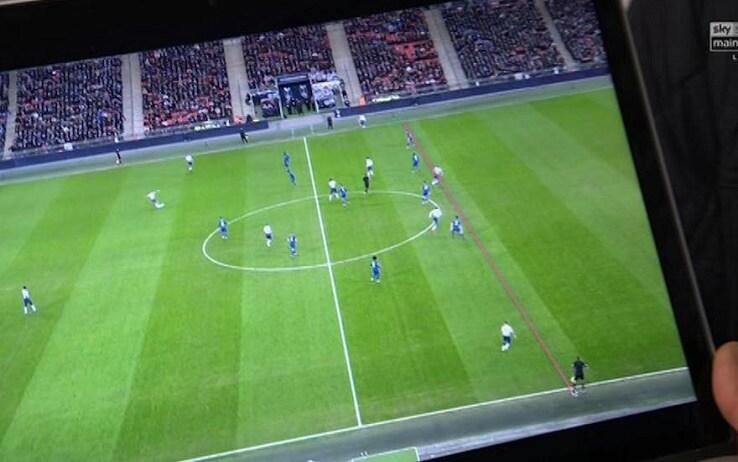L'immagine sul laptop di Sarri: per l'allenatore del Chelsea Kane è in fuorigioco (Sky Sports)
