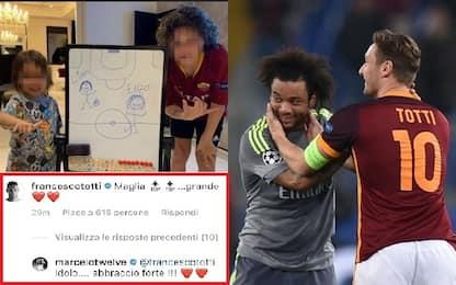 """Marcelo, """"figlio romanista"""". E Totti posta: """"Top!"""""""