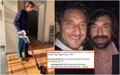 """Pirlo pulisce, Totti sfotte: """"Vieni anche da me?"""""""