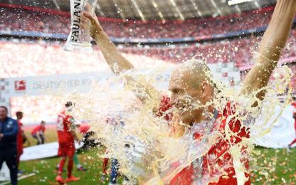 Bayern campione, festa d'addio per Ribery e Robben