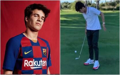 La sfida di Riqui Puig: palleggi con mazza da golf