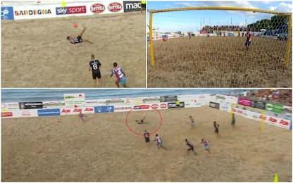 Beach soccer, gol in rovesciata da 20 metri. VIDEO