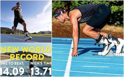 Il nuovo record dei 100m... è in scarponi da sci!