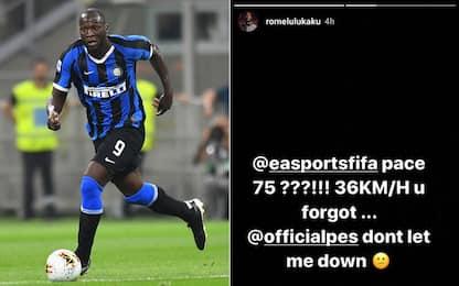 """""""Velocità 75?"""". Lukaku critica Fifa e scrive a Pes"""