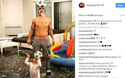 Palleggi a casa Perotti: tale padre, tale figlio