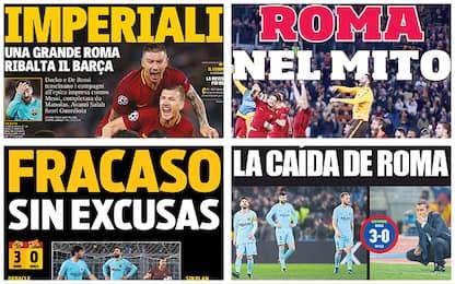 Roma, l'impresa Champions sui giornali: rassegna