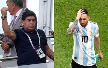 """Maradona a Messi: """"Non tornare in Nazionale"""""""