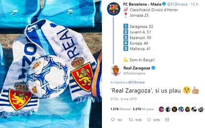 """Saragossa? No, grazie"": Barça corretto su Twitter"